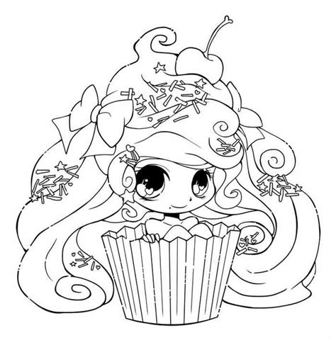 Printable Cupcake Coloring Pages Chibi coloring pages