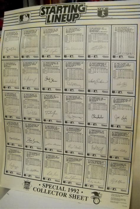 But, across time, baseball card sizes have varied wildly. 1992 Starting Lineup Baseball Card poster size uncut collector sheet - Baseball Memorabilia