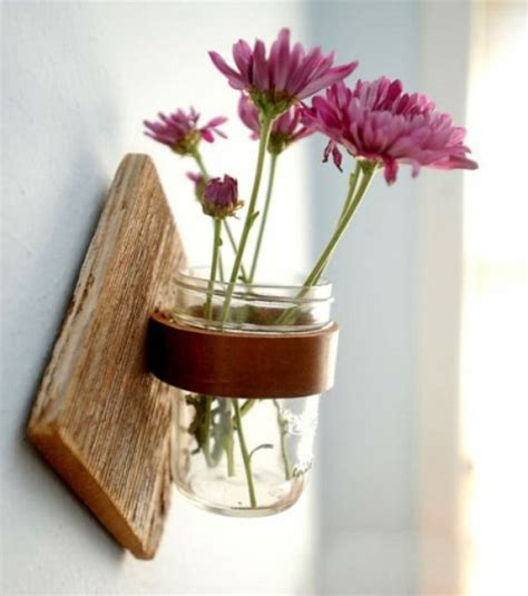 handgemachte rustikale wandvasen einweckglaeser rosa blume