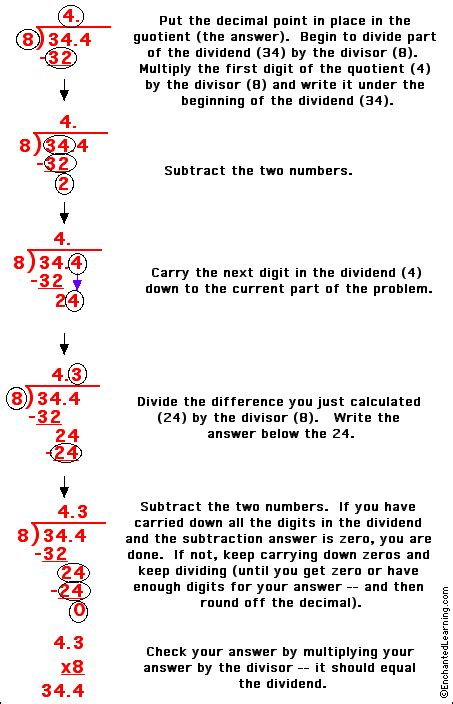 dividing a decimal by an integer enchantedlearning