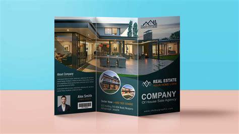 modern real estate tri fold brochure design template