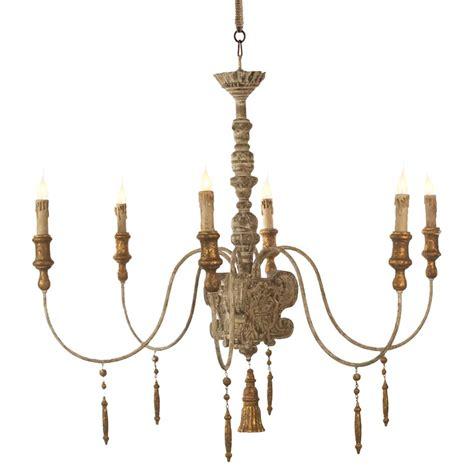 european country italian 6 light grey wash chandelier