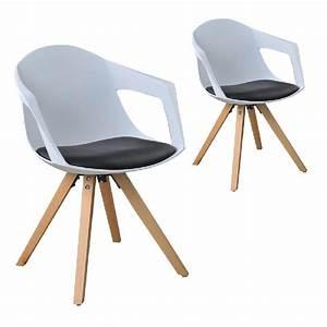 Conforama Chaise Scandinave : lot de 2 chaises a nordiques bois avec accoudoirs blanc ~ Teatrodelosmanantiales.com Idées de Décoration