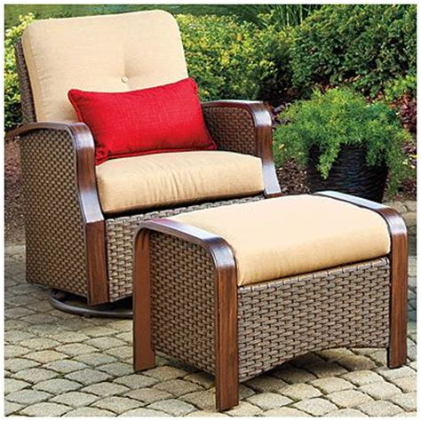 outdoor glider with ottoman wilson fisher tuscany resin wicker set of 2 cushioned