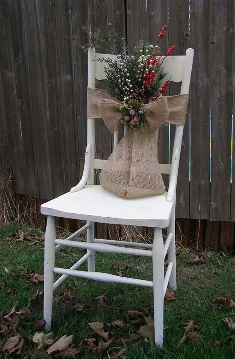 chair decorated  christmas  burlap ribbon springs