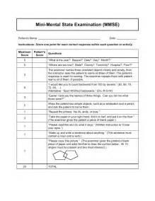 Mmse Template Mini Mental Status Exam Printable Quotes