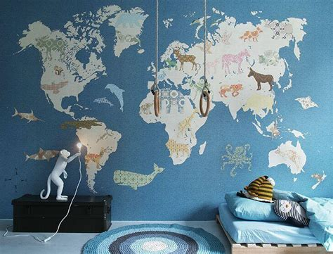 kids world map mural  sizes  colours