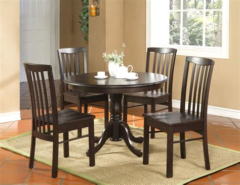 round kitchen table with 4 chairs 5pc round kitchen dinette set table and 4 chairs walnut ebay