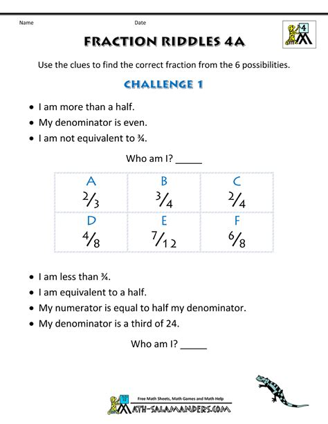 free printable fraction worksheets fraction riddles harder