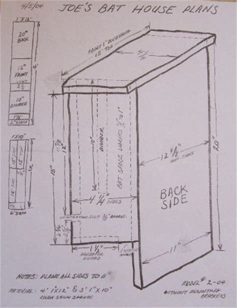 bat house specifications and plans