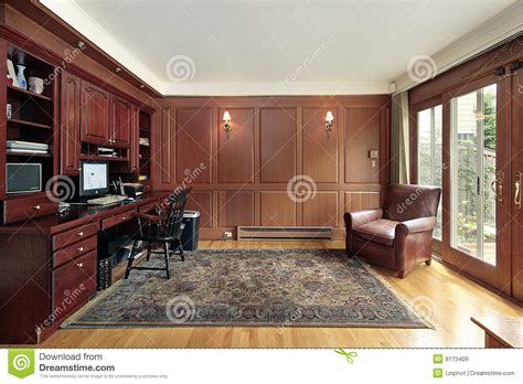 Cherry Wood Paneled Library Royalty Free Stock Images
