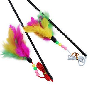 Pet Cat Toy Cute Bird Colorful Feather Teaser Wand Plastic