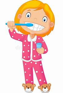 Cartoon A Young Girl Brushing Her Tooth Stock Vector ...