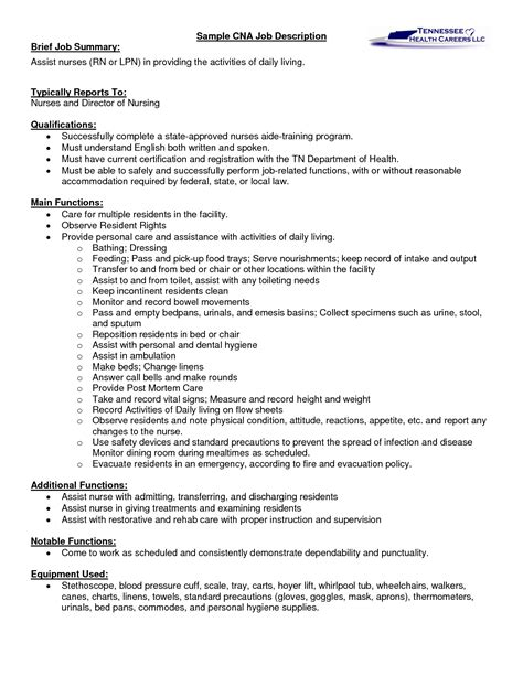 Registered Duties Resume by Rn Description For Resume Printable Month Calendar