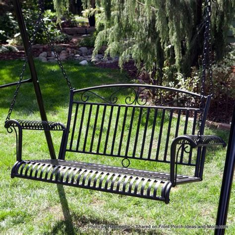 wrought iron porch swing a metal porch swing is for marking memories on your porch 1667
