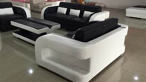 Black and white genuine leather sofa for sale c1183d for Genuine black leather sectional sofa