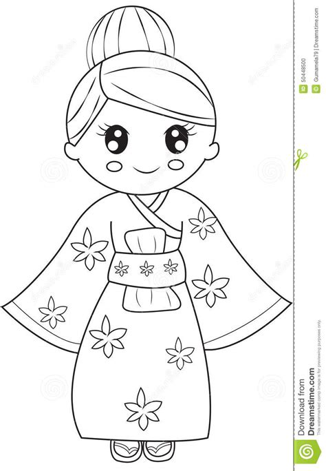 stock photo korean girl coloring page image