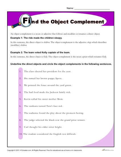 find the object complement worksheet