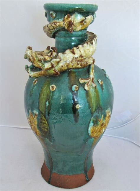 antique chinese  japanese pottery drip glazed vase