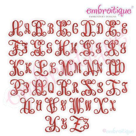 alphabets embroidery fonts bx format  embrilliance solid vine interlocking  letter