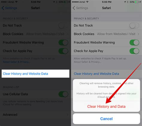 how to clear safari history and website data in ios 9 or ios 8 how to clear safari history and website data in ios 10 on