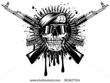 abstract vector illustration skull beret crossed stock vector 363827324