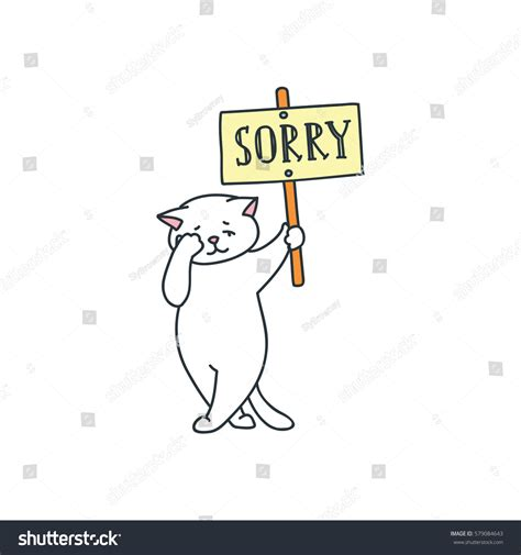 sad white cat holding  sign stock vector