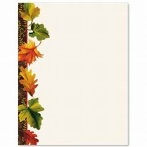 elegant fall colorful leaves Halloween letterhead writing ...