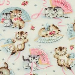 Michael Miller vintage fabric kitty Smitten Kittens ...