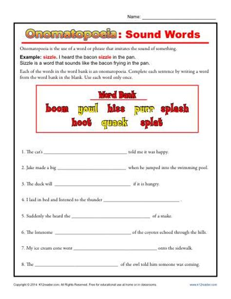 onomatopoeia sound words figurative language worksheets