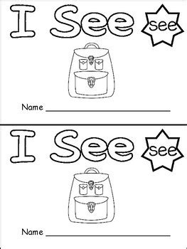 """FREE """"I See"""" Sight Word Level A Emergent Reader"""