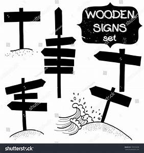 Set Doodle Wooden Signs Signboard Direction Stock Vector ...