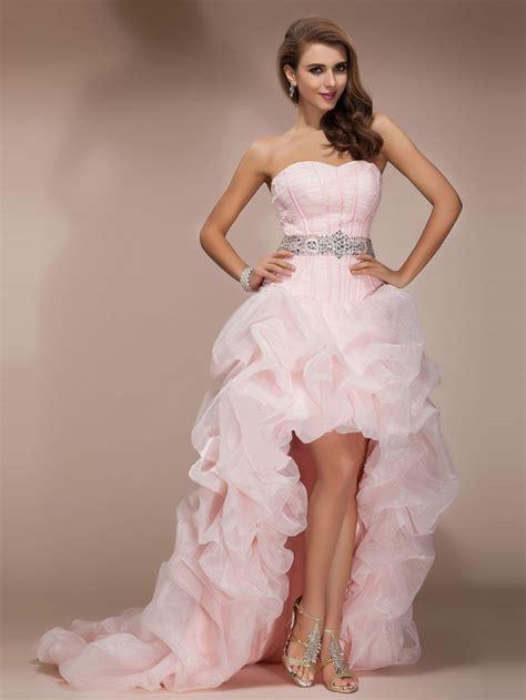 light pink prom dress custom made sequin beautiful high low