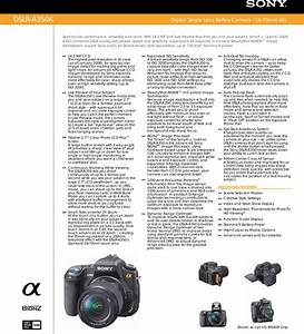 Sony Dslr A350 User Manual Marketing Specifications  Dslr