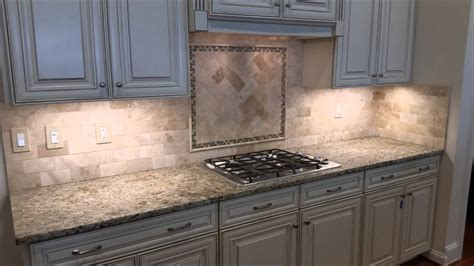 Travertine Kitchen Backsplash Travertine Backsplash With Herringbone Inlay