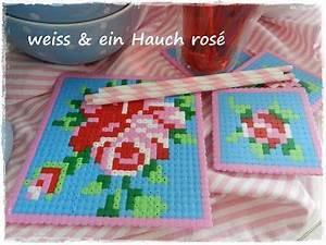 Bügelperlen Kreative Ideen : b gelperlen glasuntersetzer von wei ein hauch ros hama beads perler hama perler und ~ Orissabook.com Haus und Dekorationen
