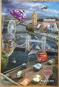 CARS 2 MOVIE POSTER 2 Sided ORIGINAL RARE INTL TRIPTYCH (3 ...