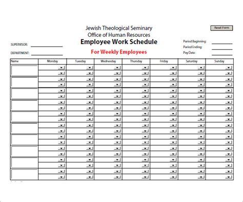 employee schedule template    documents