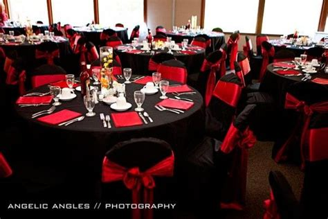 Black And Red Table Settings Event And Table Decor
