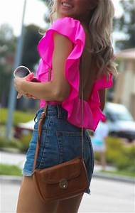 Shirt clothes shorts bag sunglasses blouse pink cute summer top neon ripped ripped ...