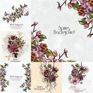 Floral spring background frame set vector   CGIspread ...