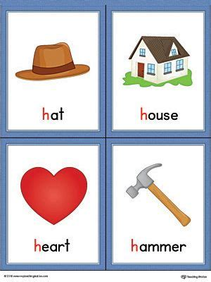 color that starts with h letter h words and pictures printable cards hat house