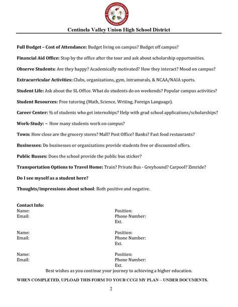 college visit evaluation form counseling leuzinger high school