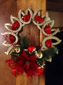 Christmas Wreath Made Out of Horse Shoes