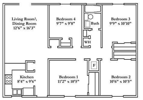 small 4 bedroom house plans free typical floor plans