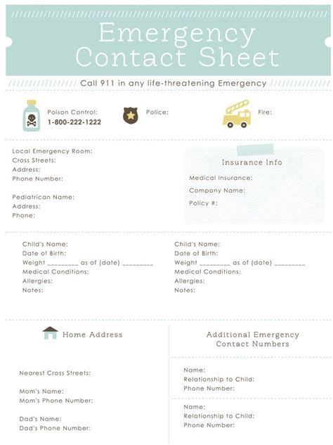 emergency contact sheet printable great