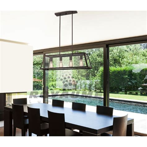 luminaire de cuisine suspendu luminaire suspendu rectangle bronze avec panneaux de verre