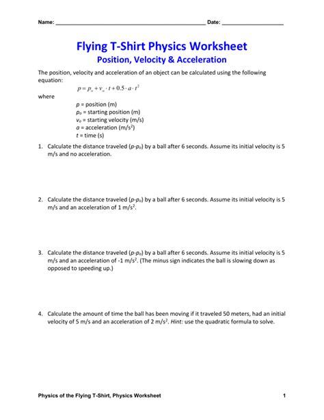 Favorite Physics Velocity Problems Worksheet Goodsnyccom