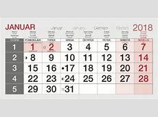 Koledar januar 2018 4 2019 2018 Calendar Printable
