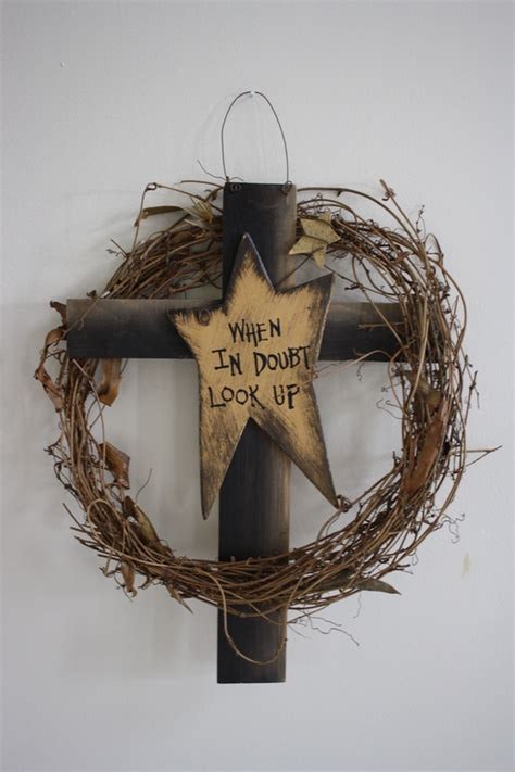 """""""When in doubt look up"""" wooden cross and star with grapevine wreath"""